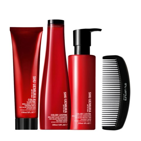 Shu Uemura Color lustre kit shampoo 300ml conditioner 250ml thermo-millk 150ml e Pettine Geisha Omaggio