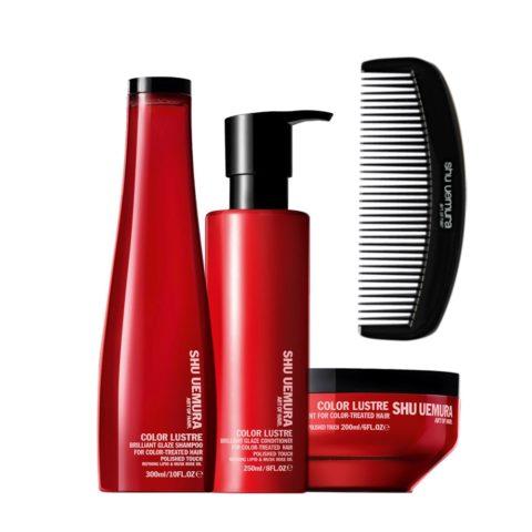 Shu Uemura Color lustre kit shampoo 300ml conditioner 250ml masque 200ml e pettine Geisha Omaggio