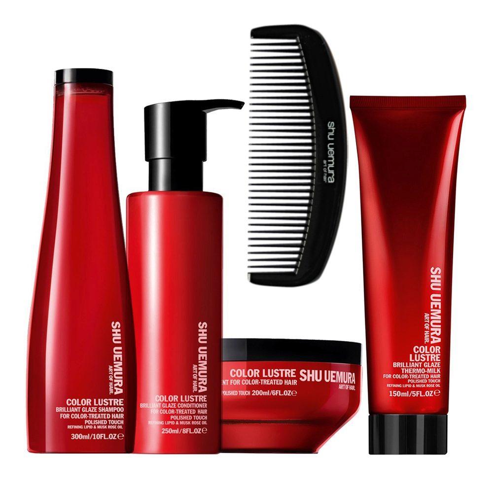 Shu Uemura Color lustre kit shampoo 300ml conditioner 250ml masque 200ml thermo-millk 150ml e Pettine Omaggio