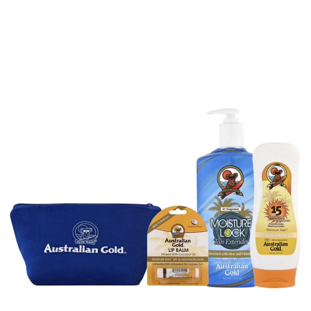 Australian Gold Kit Mare Moisture Lock Protezione SPF15 Stick Labbra e Pochette Mare