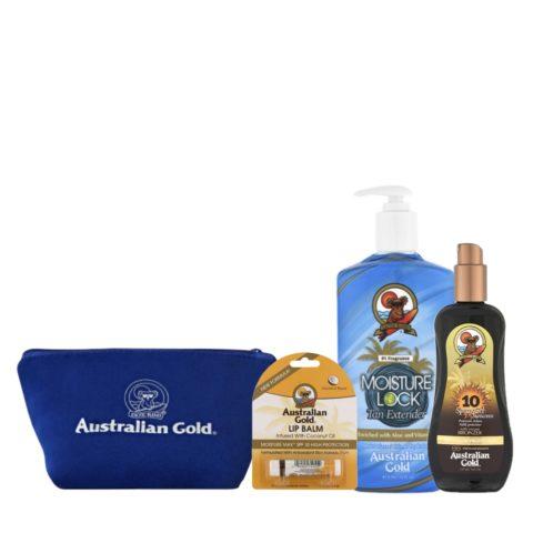 Australian Gold Kit Mare Moisture Lock Protezione SPF10 Stick Labbra e Pochette Mare