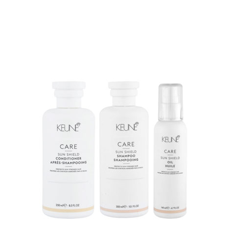 Keune Care Line Sun Shield Shampoo 300ml Conditioner 250ml Oil 140ml - Kit Solare per capelli