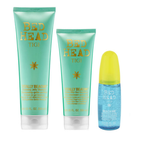 Tigi Bed Head Kit Solari Shampoo 250ml Balsamo 250ml Spray onde 100ml