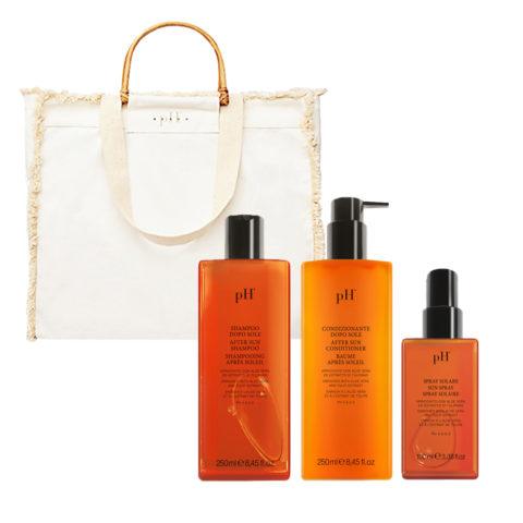 PH Laboratories Kit Solare Shampoo 250ml Balsamo 250ml Spray 100ml Borsa Mare Omaggio