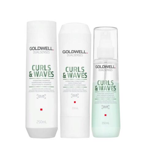 Goldwell Dualsenses Curly twist Hydrating Shampoo 250ml Balsamo 200ml Spray 150ml Per capelli Ricci