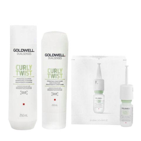 Goldwell Dualsenses Curly twist Hydrating Shampoo 250ml Balsamo 200ml Siero 12x18ml Per capelli Ricci