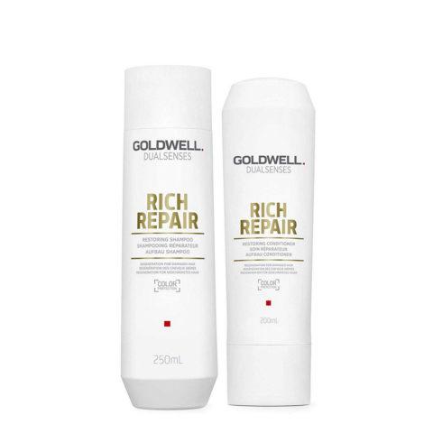 Goldwell rich repair Shampoo 250ml e Balsamo 200ml Ristrutturante capelli danneggiati