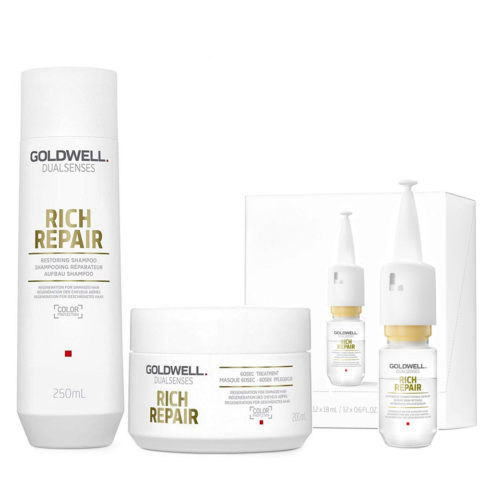 Goldwell rich repair Shampoo 250ml Maschera 200ml Siero 12x18ml - Tris Ristrutturante capelli danneggiati