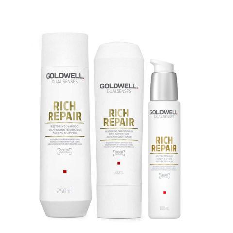 Goldwell rich repair Shampoo 250ml Conditioner 200ml Serum 100ml - Tris Ristrutturante capelli danneggiati