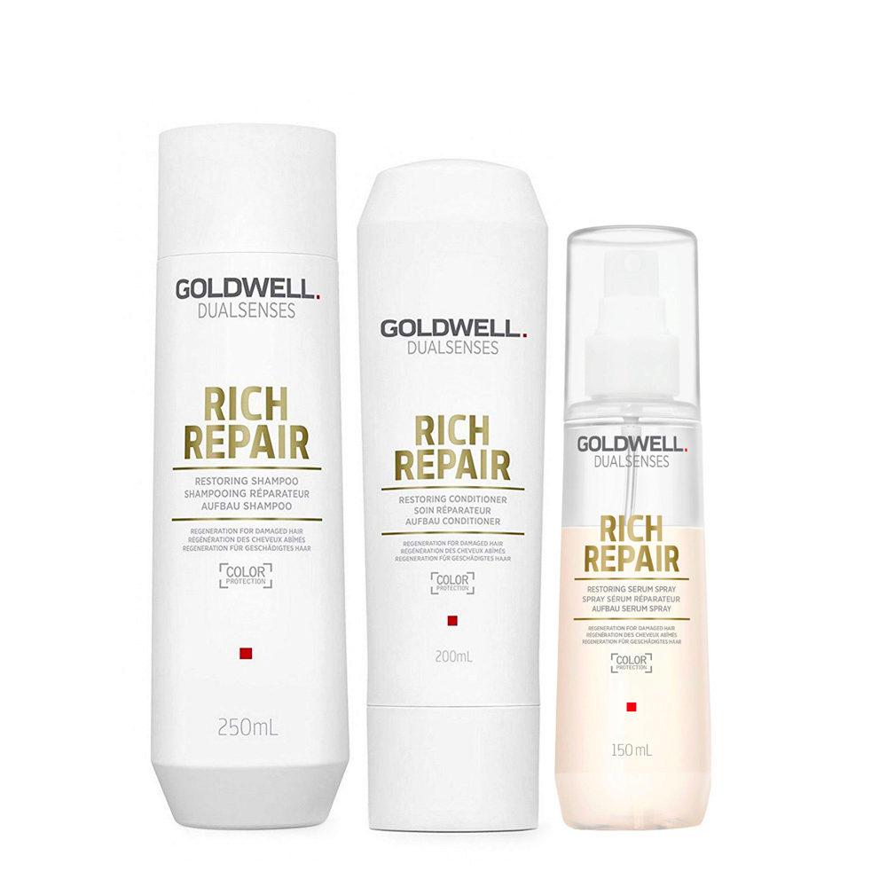 Goldwell rich repair Shampoo 250ml Conditioner 200ml Serum Spray 150ml - Tris Ristrutturante capelli danneggiati