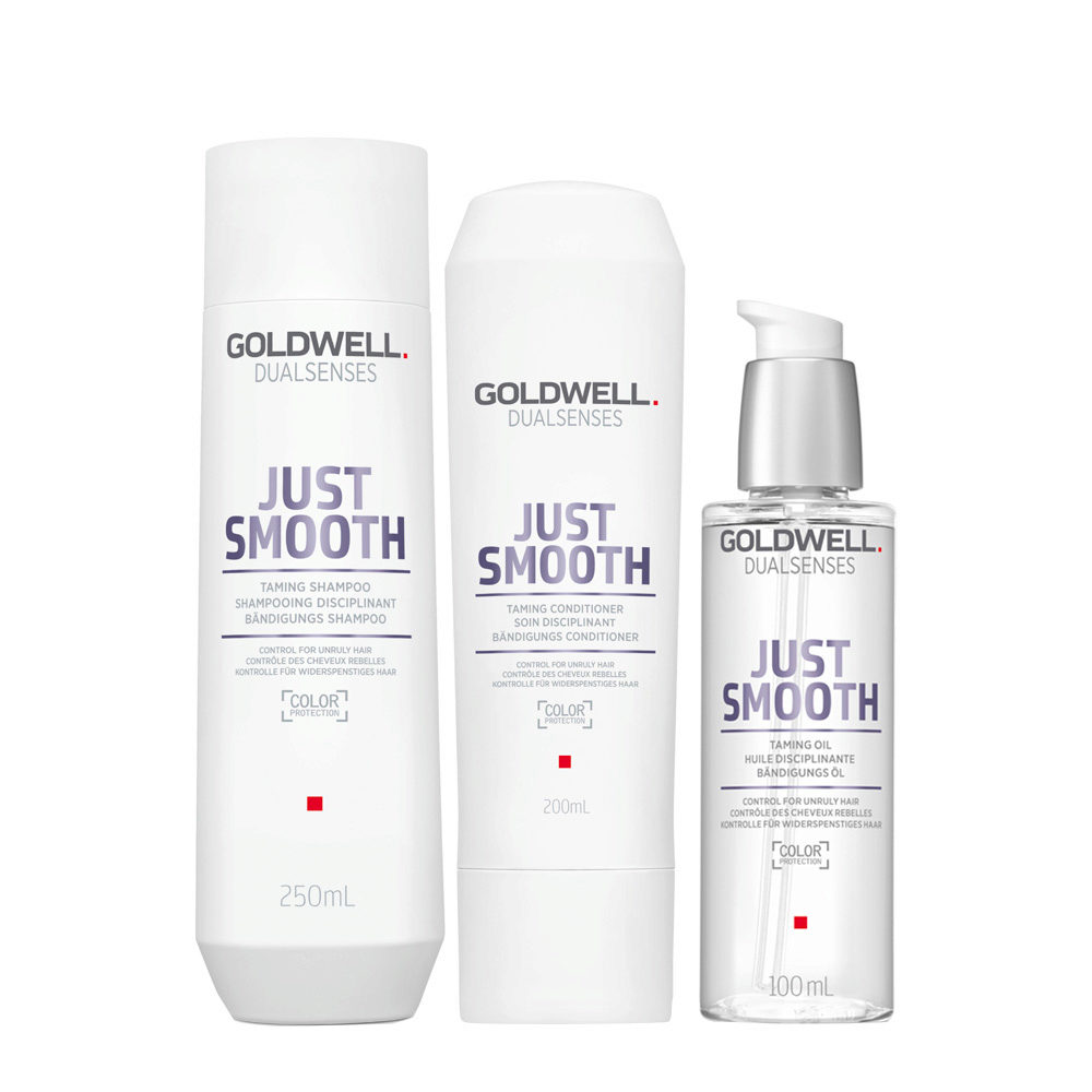Goldwell Dualsenses Just Smooth Taming Shampoo 250ml Balsamo 200ml Olio Anticrespo 100ml