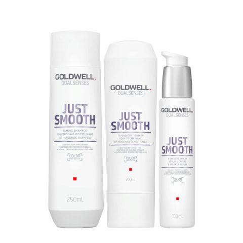 Goldwell Dualsenses Just Smooth Taming Shampoo 250ml Balsamo 200ml Siero 100ml Anticrespo