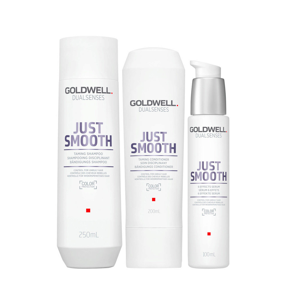 Goldwell Dualsenses Just Smooth Taming Shampoo 250ml Balsamo 200ml Siero 100ml Anticrespo