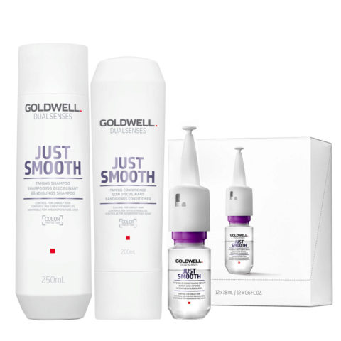 Goldwell Dualsenses Just Smooth Taming Shampoo 250ml Balsamo 200ml Siero 12x18ml Anticrespo