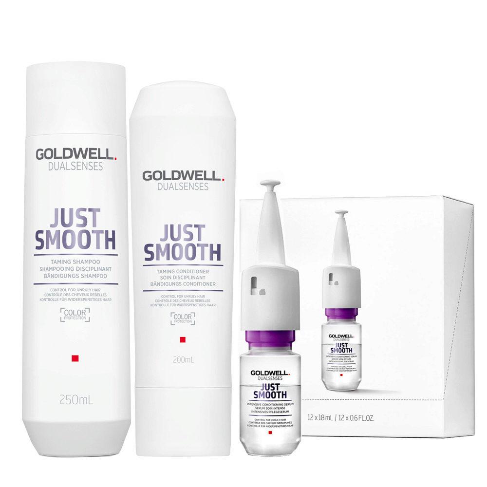 Goldwell Dualsenses Just Smooth Taming Shampoo 250ml Balsamo 200ml Siero 12x18ml Anticrespo