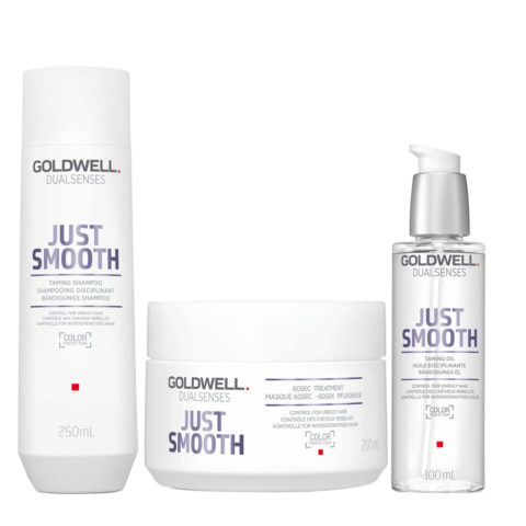 Goldwell Dualsenses Just Smooth Taming Shampoo 250ml Maschera 200ml Olio Anticrespo 100ml