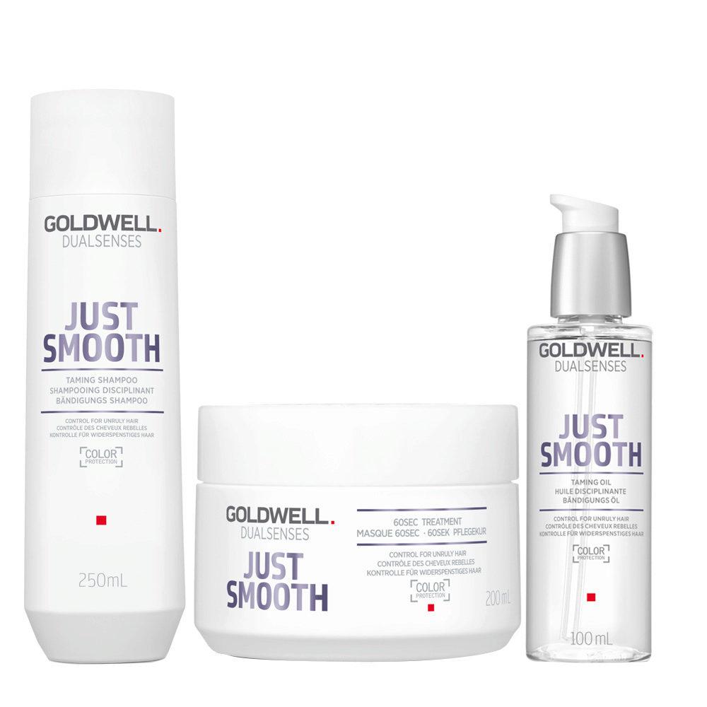 Goldwell Dualsenses Just Smooth Taming Shampoo 250ml Maschera 200ml Olio Anticrespo 100ml