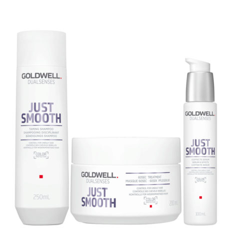 Goldwell Dualsenses Just Smooth Taming Shampoo 250ml Maschera 200ml Siero Anticrespo 100ml