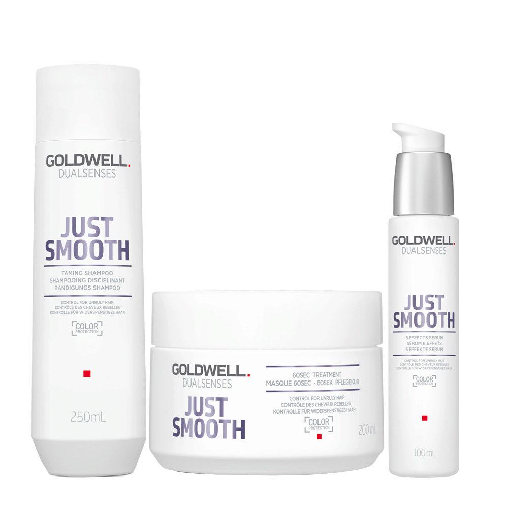 Goldwell Dualsenses Just Smooth Taming Shampoo 250ml Maschera 200ml Siero Anticrespo 100ml