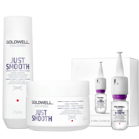 Goldwell Dualsenses Just Smooth Taming Shampoo 250ml Maschera 200ml Siero Anticrespo 12x18ml