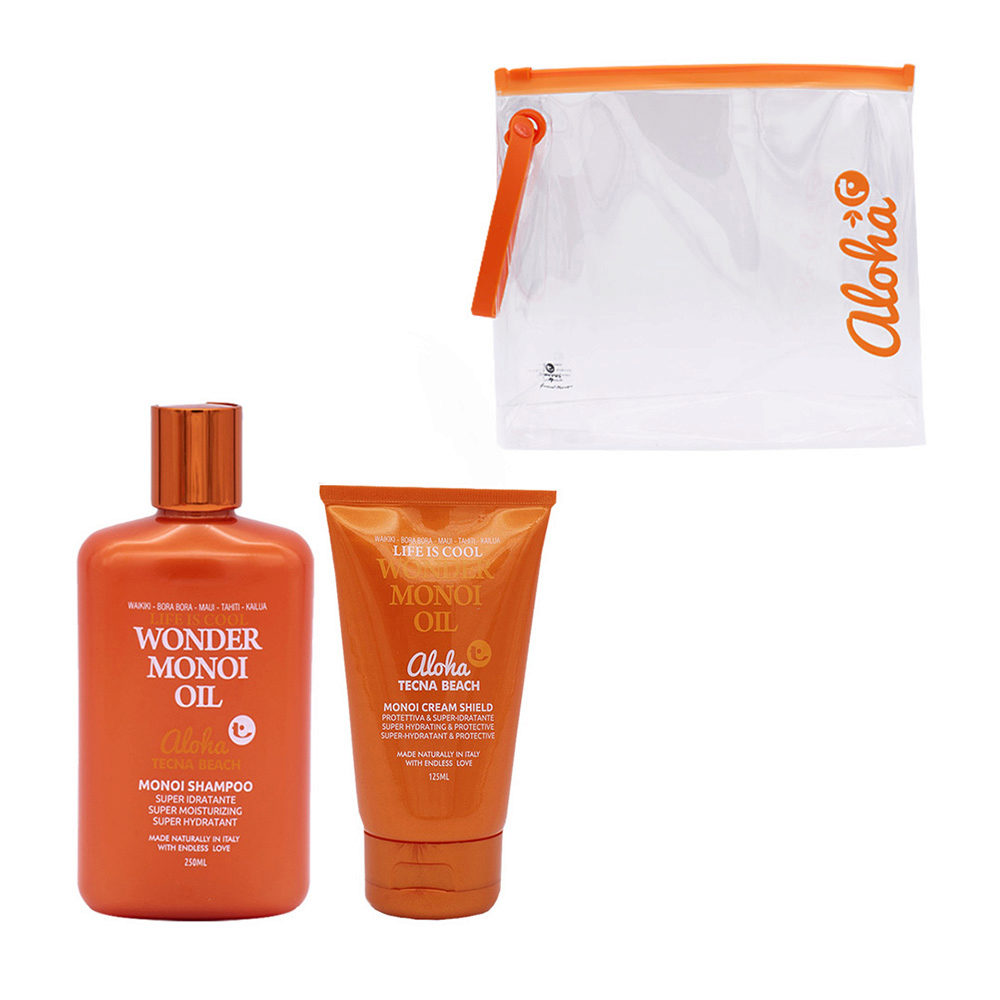 Tecna Beach Wonder Monoi kit Shampoo 250ml Cream Shield 125ml omaggio pochette mare