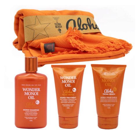 Tecna Beach Wonder Monoi kit Shampoo 250ml Maschera Doposole 150ml Crema protettiva capelli 125ml Telo Mare