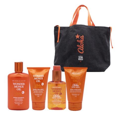 Tecna Beach Wonder kit Shampoo 250ml Maschera 150ml Olio 100ml Crema 125ml Borsa mare omaggio