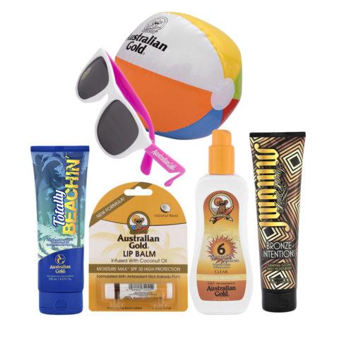 Australian Gold Kit completo Intensificatore 250ml Stick Labbra Protezione SPF6 e Crema Doposole 300ml