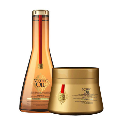 L'Oreal Mythic oil Shampoo 250ml e Maschera 200ml Idratanti per capelli grossi