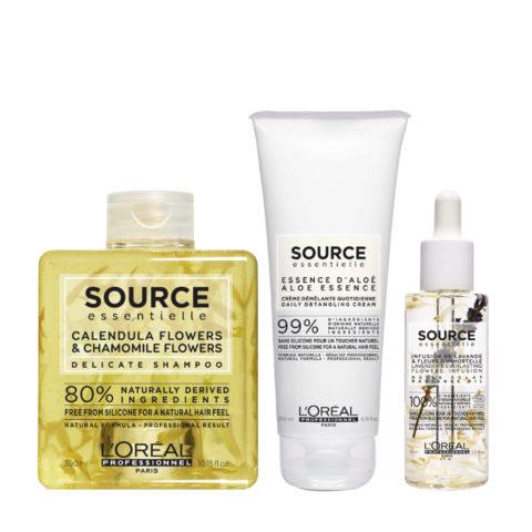 L'Oréal Source Essentielle Shampoo Delicato camomilla e calendula 300ml Balsamo 200ml Olio 70ml