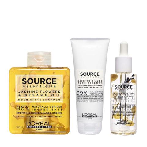 L'Oréal Source Essentielle Kit Shampoo Idratante 300ml Balsamo 200ml Olio Nutriente 70ml