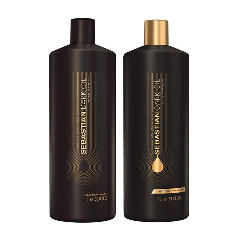 Sebastian Dark Oil Shampoo 1000ml e Balsamo 1000ml Idratanti e Leggeri