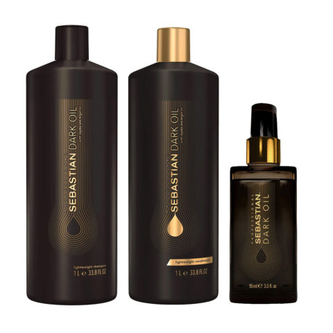 Sebastian Dark Oil Shampoo 1000ml Balsamo 1000ml Olio 95ml Idratante per Capelli