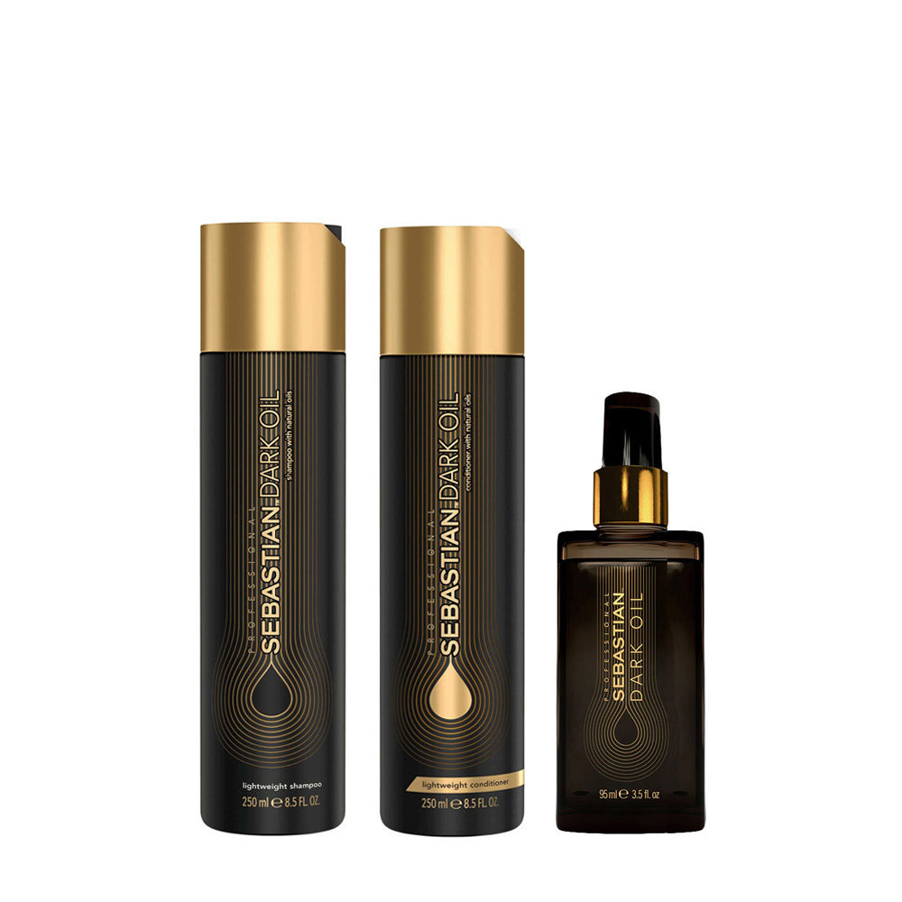 Sebastian Dark Oil Shampoo 250ml Balsamo 250ml Olio 95ml Idratante per Capelli