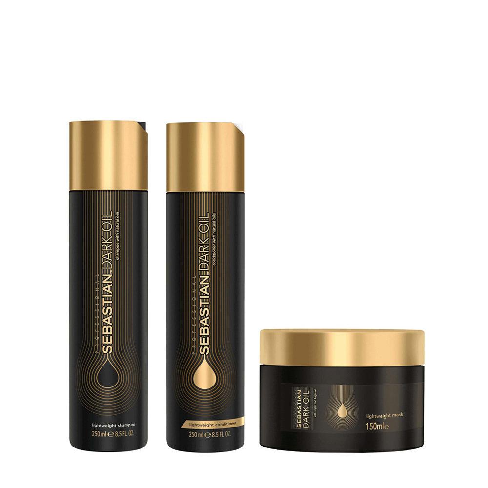 Sebastian Dark Oil Shampoo 250ml Balsamo 250ml Maschera 150ml Idratanti