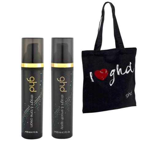 Ghd Kit Straight & Tame Cream 120ml e Straight & Smooth Spray 120ml e borsa omaggio