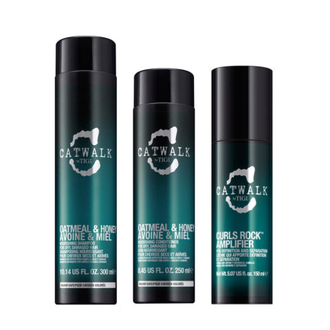 Tigi Catwalk Shampoo 300ml Balsamo 250ml Curls Rock Amplifier 150ml