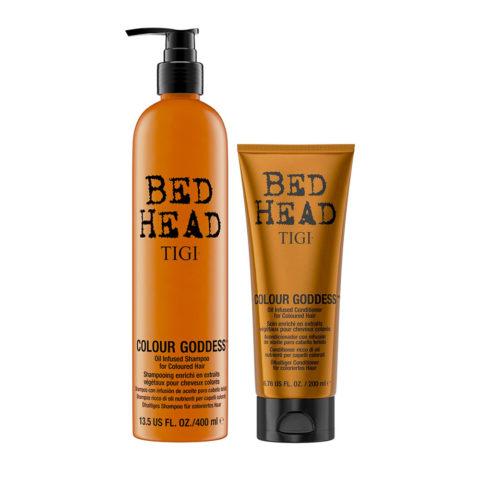 Tigi Bed Head Colour Goddess Oil infused Shampoo 400ml Balsamo 200ml per Capelli Colorati