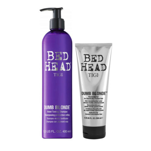 Tigi Bed Head Dumb Blonde Violet Toning Shampoo 400ml Balsamo 200ml per Capelli Biondi