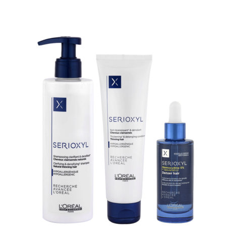 L'oreal Serioxyl Anticaduta Shampoo 250ml Balsamo 150ml Denser Siero 90ml per Capelli Naturali
