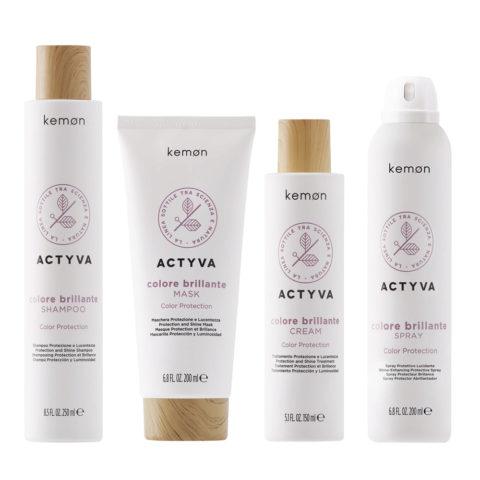 Kemon Actyva Capelli Colorati Shampoo 250ml Maschera 200ml Crema 150ml Spray 200ml
