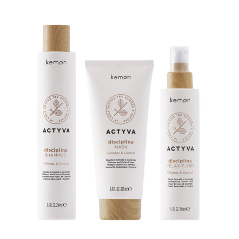 Kemon Actyva Capelli Crespi Shampoo 250ml Maschera 200ml Fluido 150ml Anticrespo