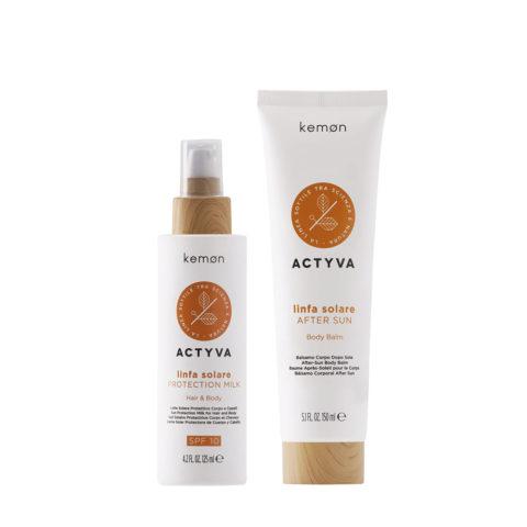 Kemon Actyva Linfa Solare Latte Protezione Solare SPF 10, 125ml Crema Corpo Doposole 150ml
