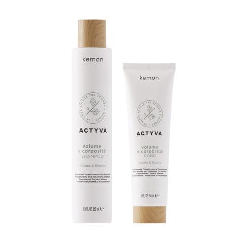 Kemon Actyva Volume E Corposità Shampoo Capelli Fini 250ml Balsamo 150ml