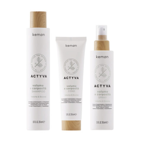 Kemon Actyva Volume E Corposità Shampoo Capelli Fini 250ml Balsamo 150ml Spray 150ml