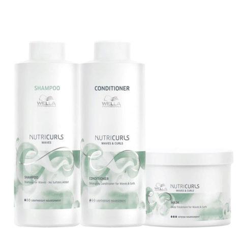 Wella Nutricurls Waves Shampoo 1000ml Balsamo 1000ml Maschera 500ml
