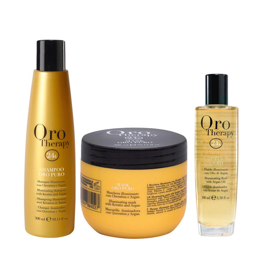 Fanola Oro Puro Shampoo 300ml Maschera 300ml Olio 100ml
