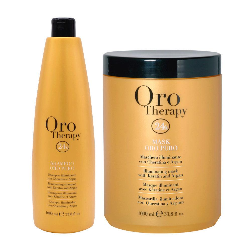 Fanola Oro Puro Shampoo 1000ml e Maschera 1000ml Illuminanti