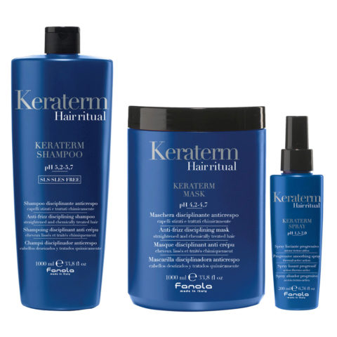 Fanola Keraterm Anticrespo Shampoo 1000ml Maschera 1000ml Spray 200ml