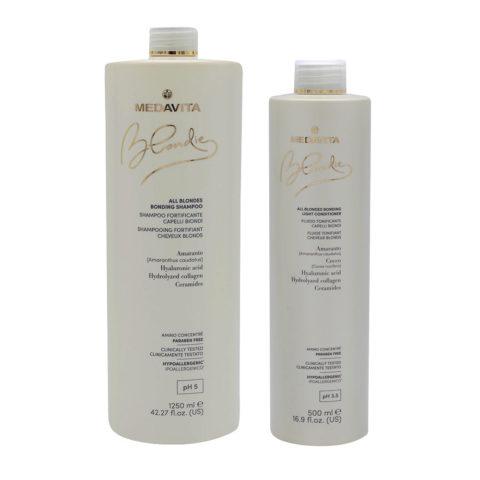 Medavita Blondie Shampoo 1250ml e Balsamo 500 tutti i Capelli Biondi